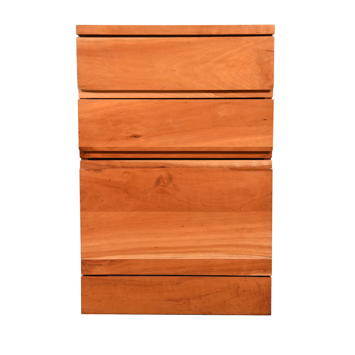 Solid-Cherry American Modernist Three-Drawer File Cabinet   Nightstand   Chest of Drawers