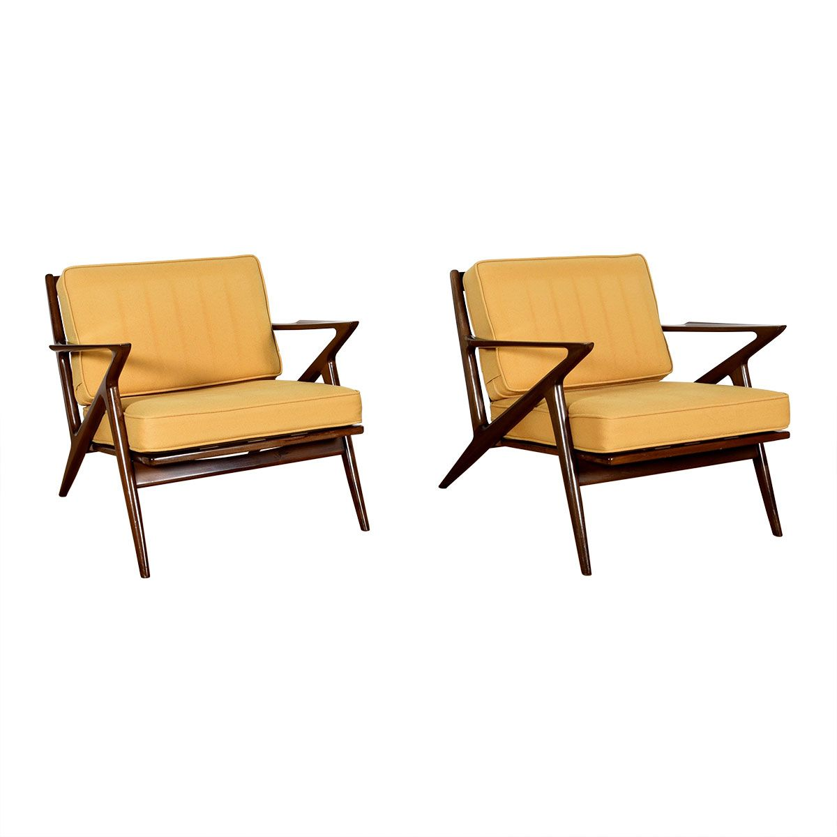 Double Z — Fabulous Pair Danish Easy Chairs in Golden Yellow by Selig