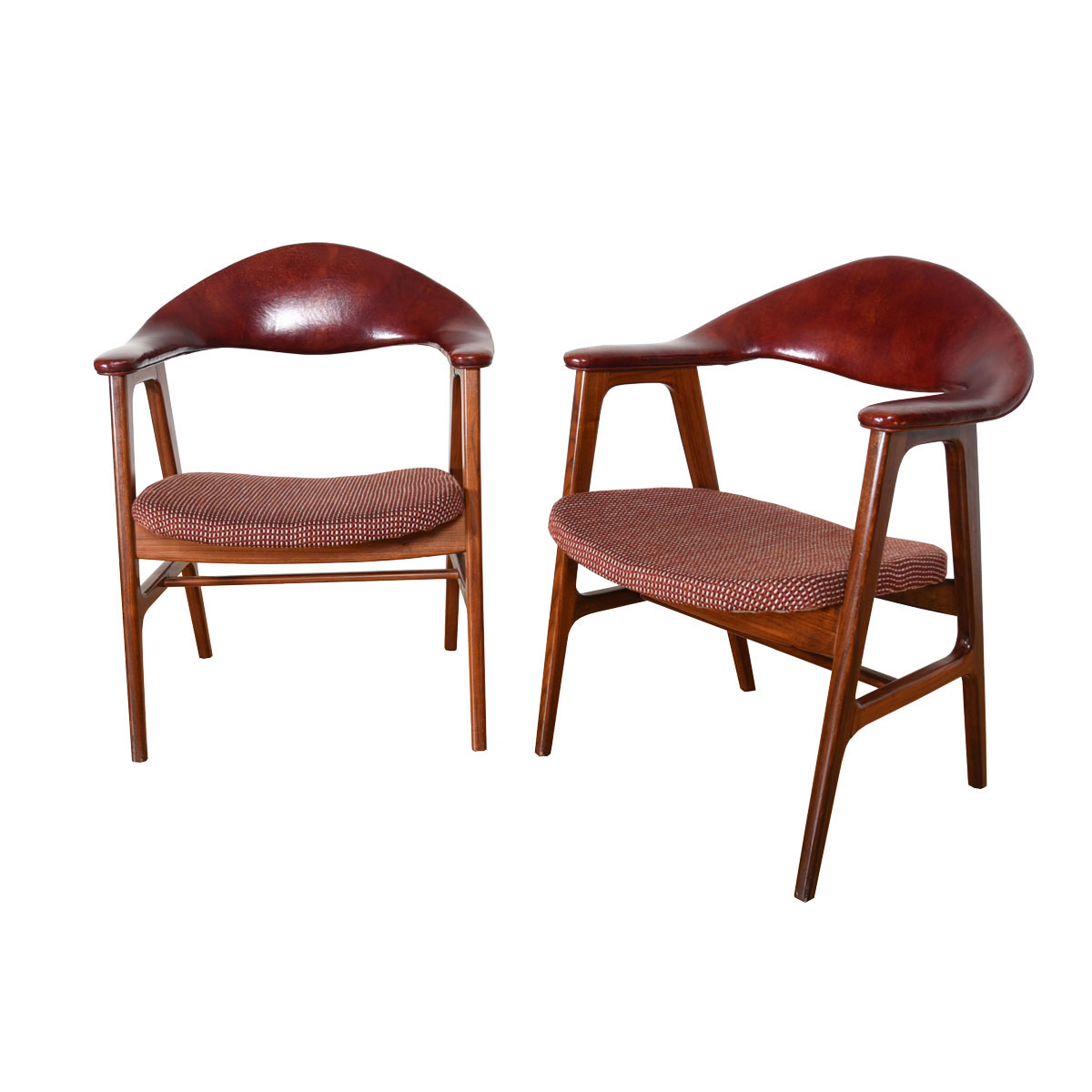 Leather Pair of Danish Modern Accent Chairs with Arms