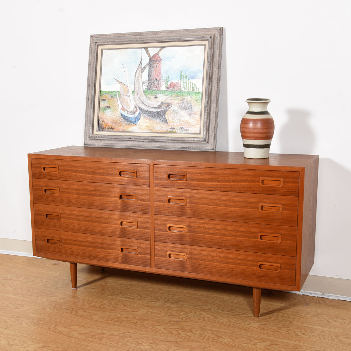 Danish Modern Compact Teak Double Chest of Drawers