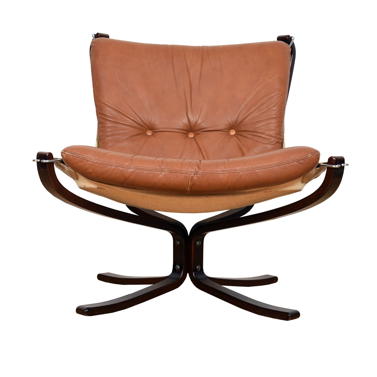 Westnofa Chair with Rosewood Base & Caramel Colored Leather Cushions