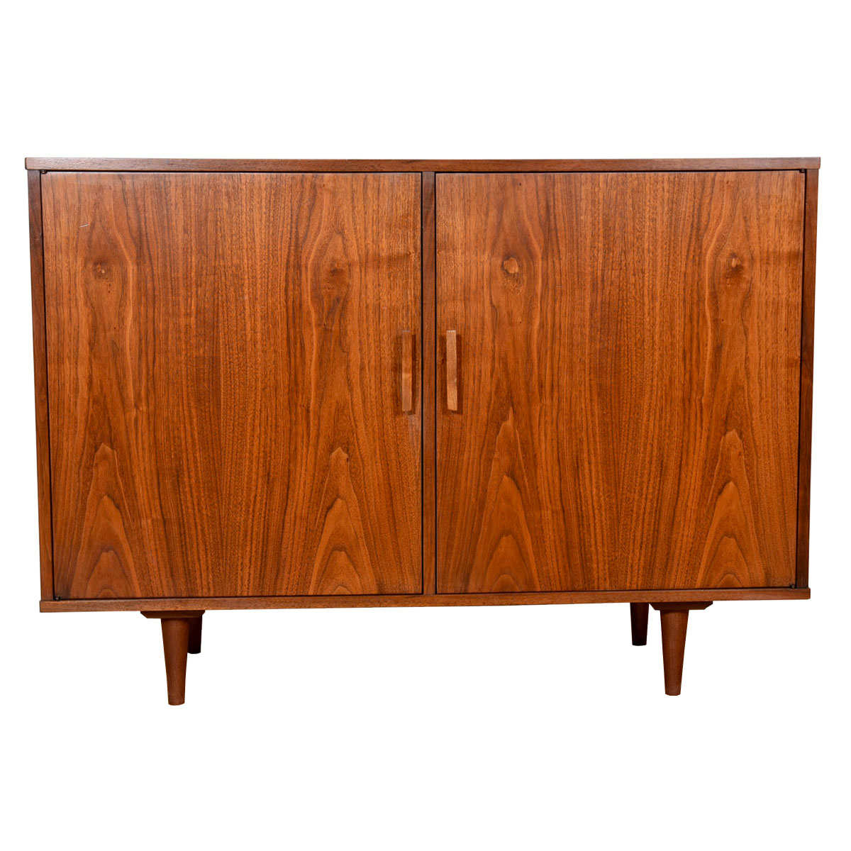 Spaciously Compact MCM Cabinet in Walnut — Custom Designed for Vinyl Storage