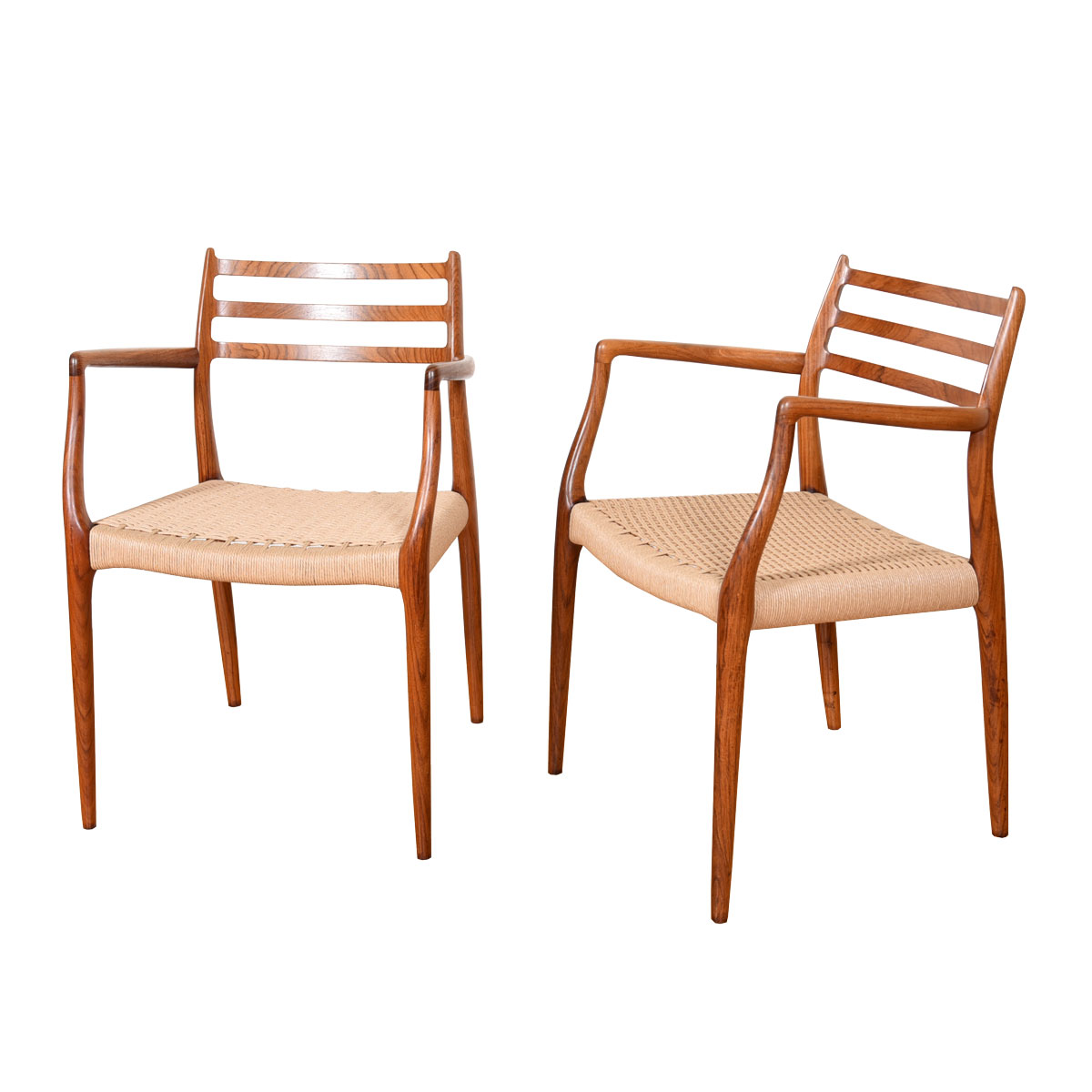 Pair Moller Horn Arm-Chairs with New Danish Cord in Rosewood