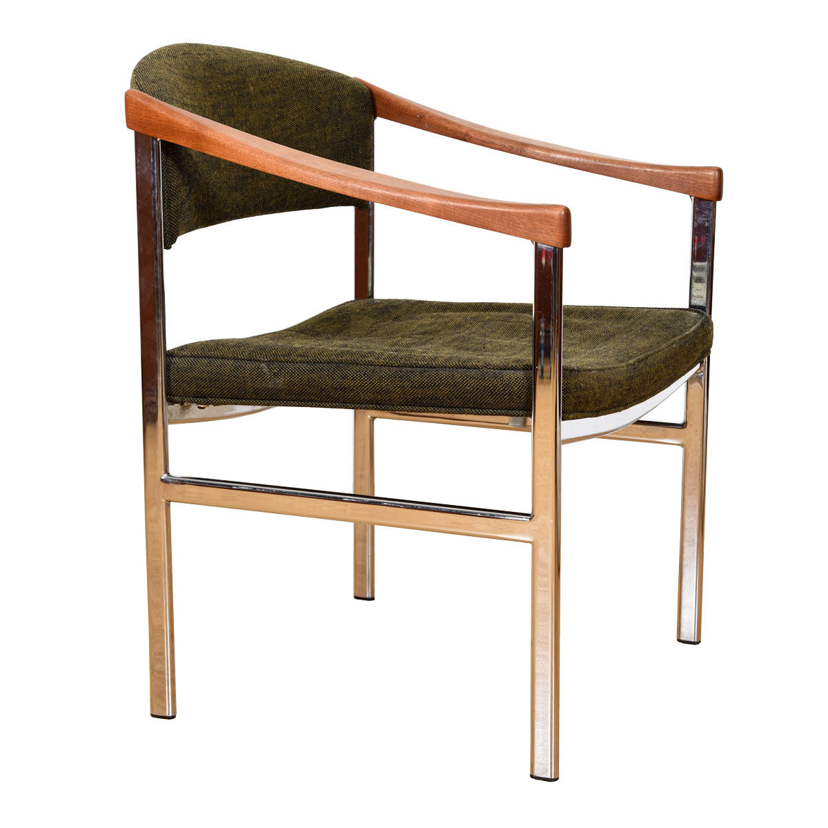 Mid Century Accent Chair with Chrome Legs + Sculpted Wood Armrests + Upholstered Seat and Back