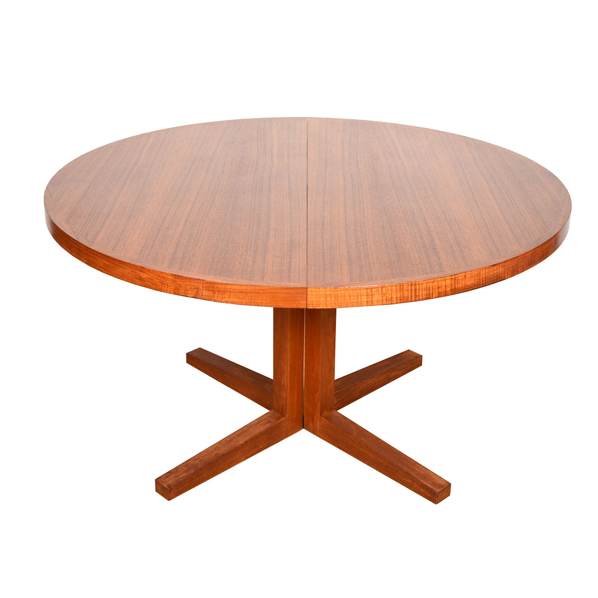 Pedestal Base Danish Teak Expanding Round-to-Oval Dining Table