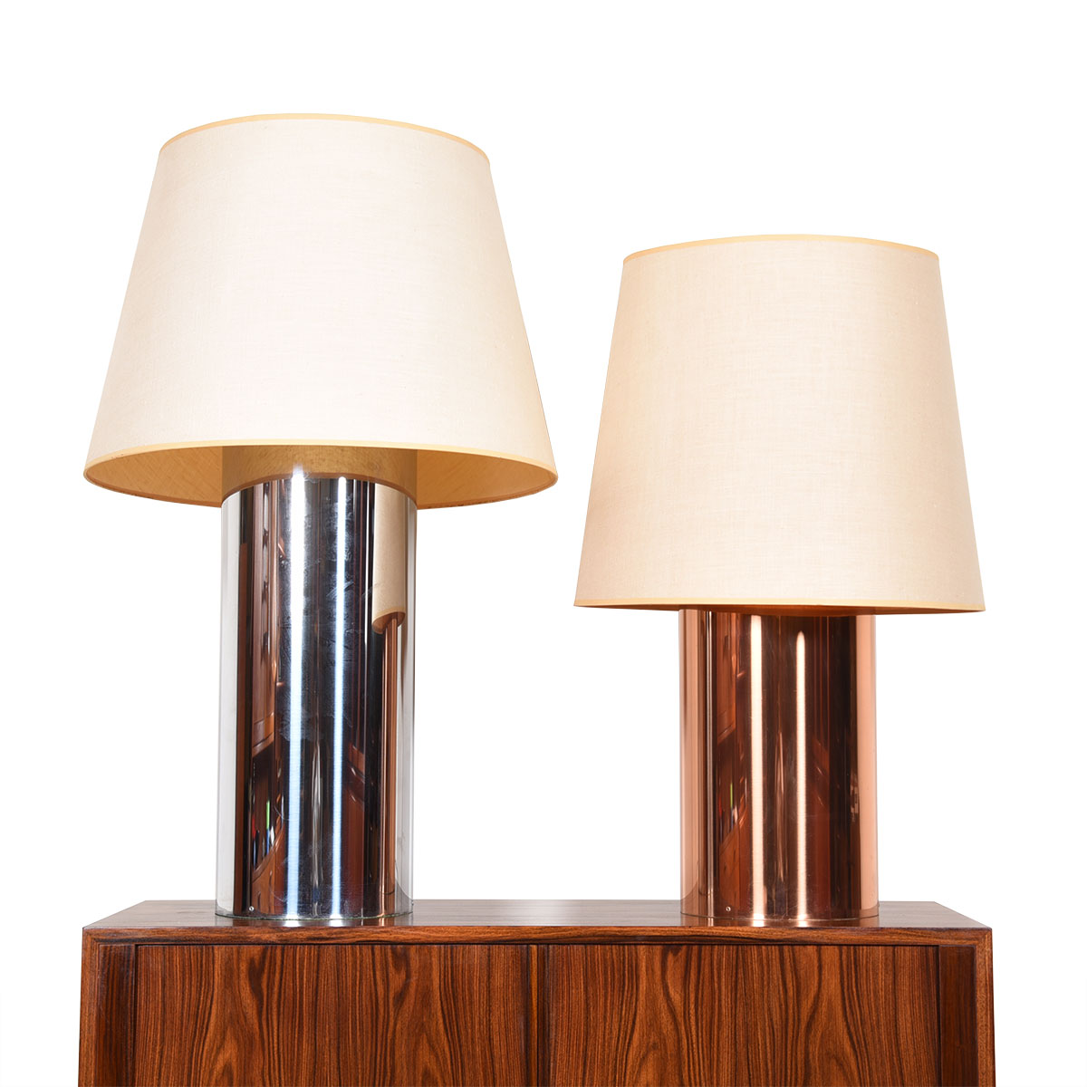 Pair of Mid Century Tinted Chrome Double-Socketed Table Lamps