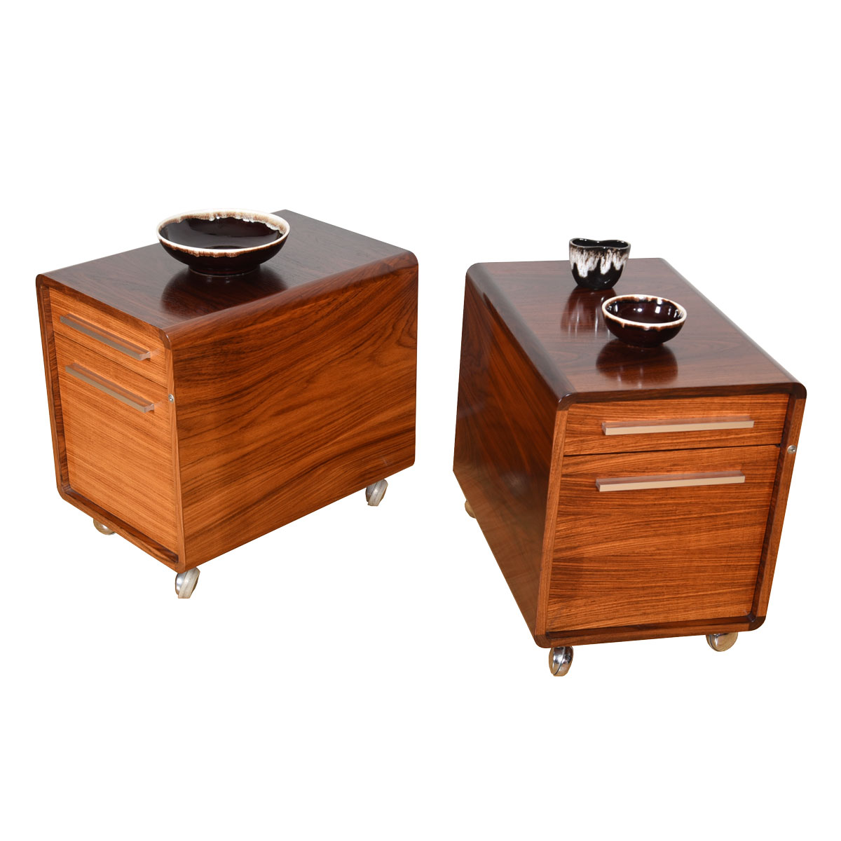 Pair, Danish Modern Rolling File Cabinets in Rosewood