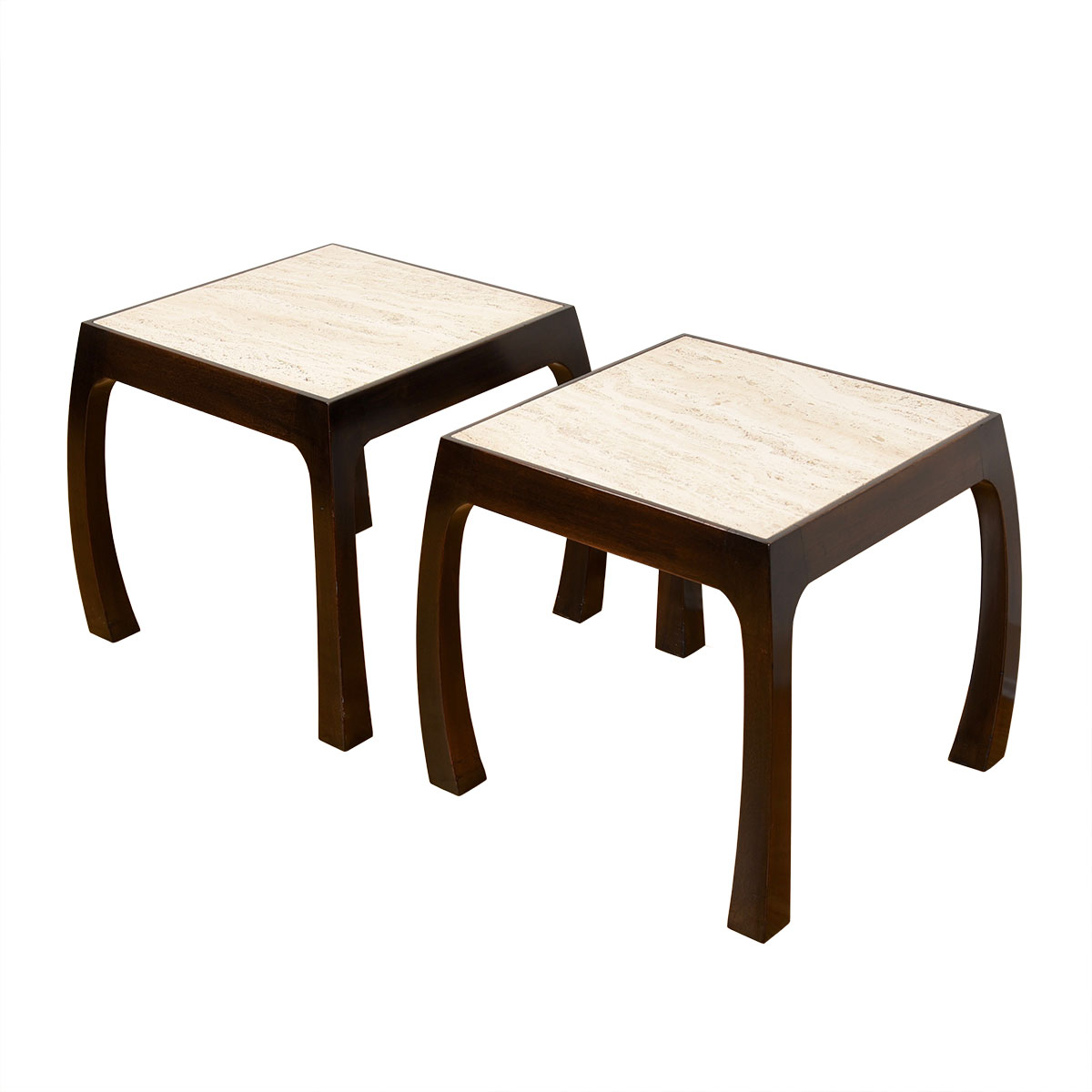 Pair Harvey Probber Italian Travertine Accent / Side / Coffee Tables