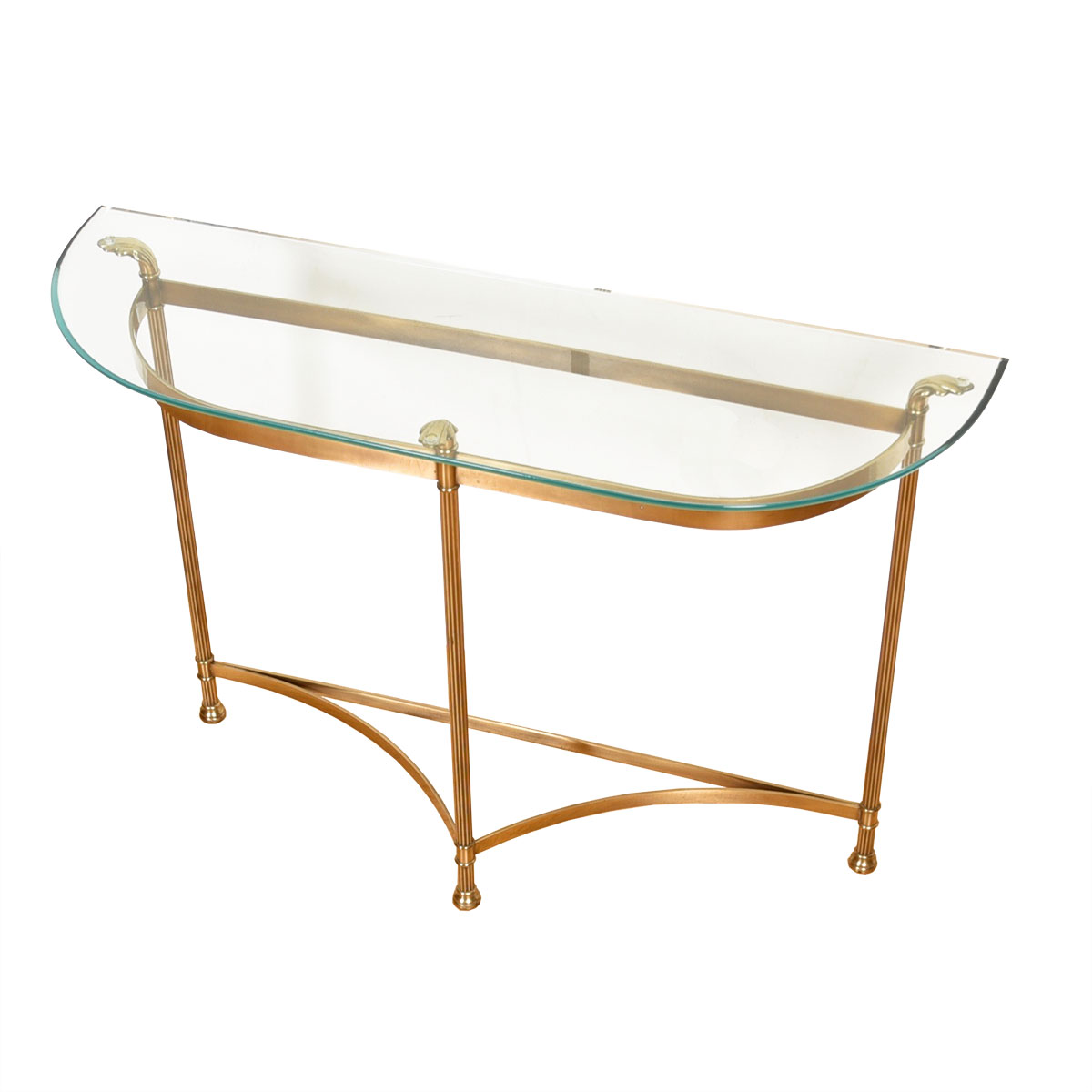 LaBarge Half-Moon Glass & Brass Console Table