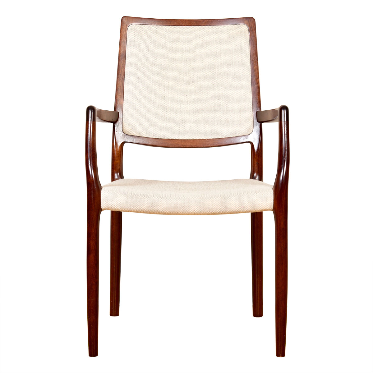 Pair of Danish Rosewood Niels Moller Tallback Upholstered Arm Chairs