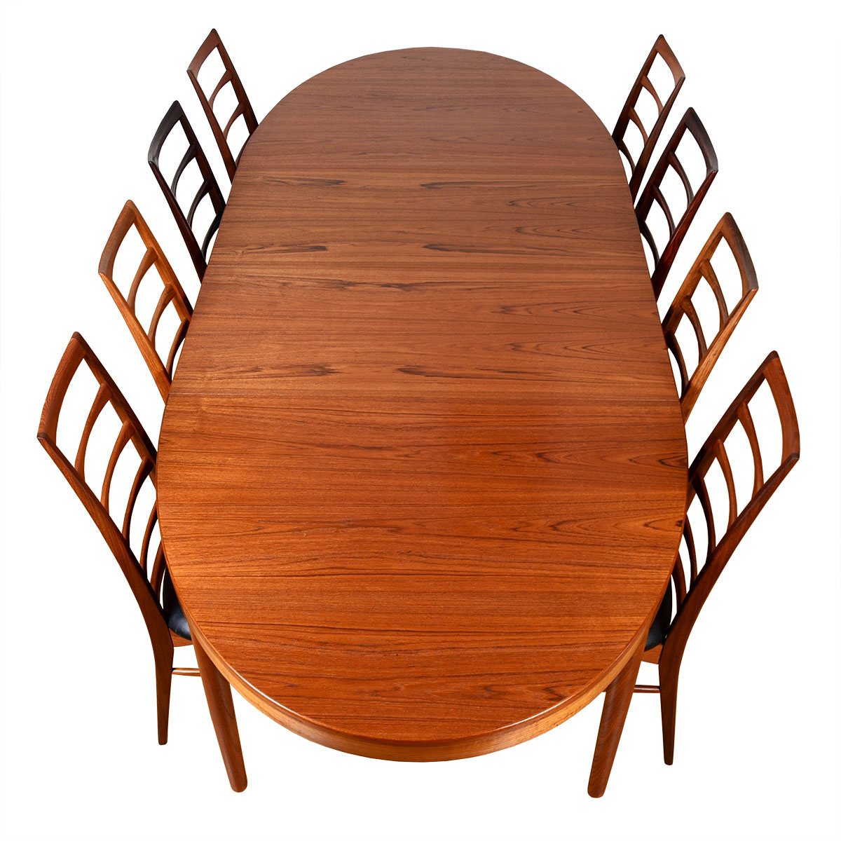 Oval Danish Modern Thick Teak Expanding Dining Table
