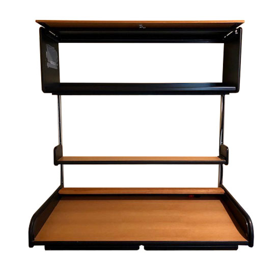 George Nelson 'Action' Roll-Top Desk Wall Unit + Separate Rolling File Drawer Cabinet