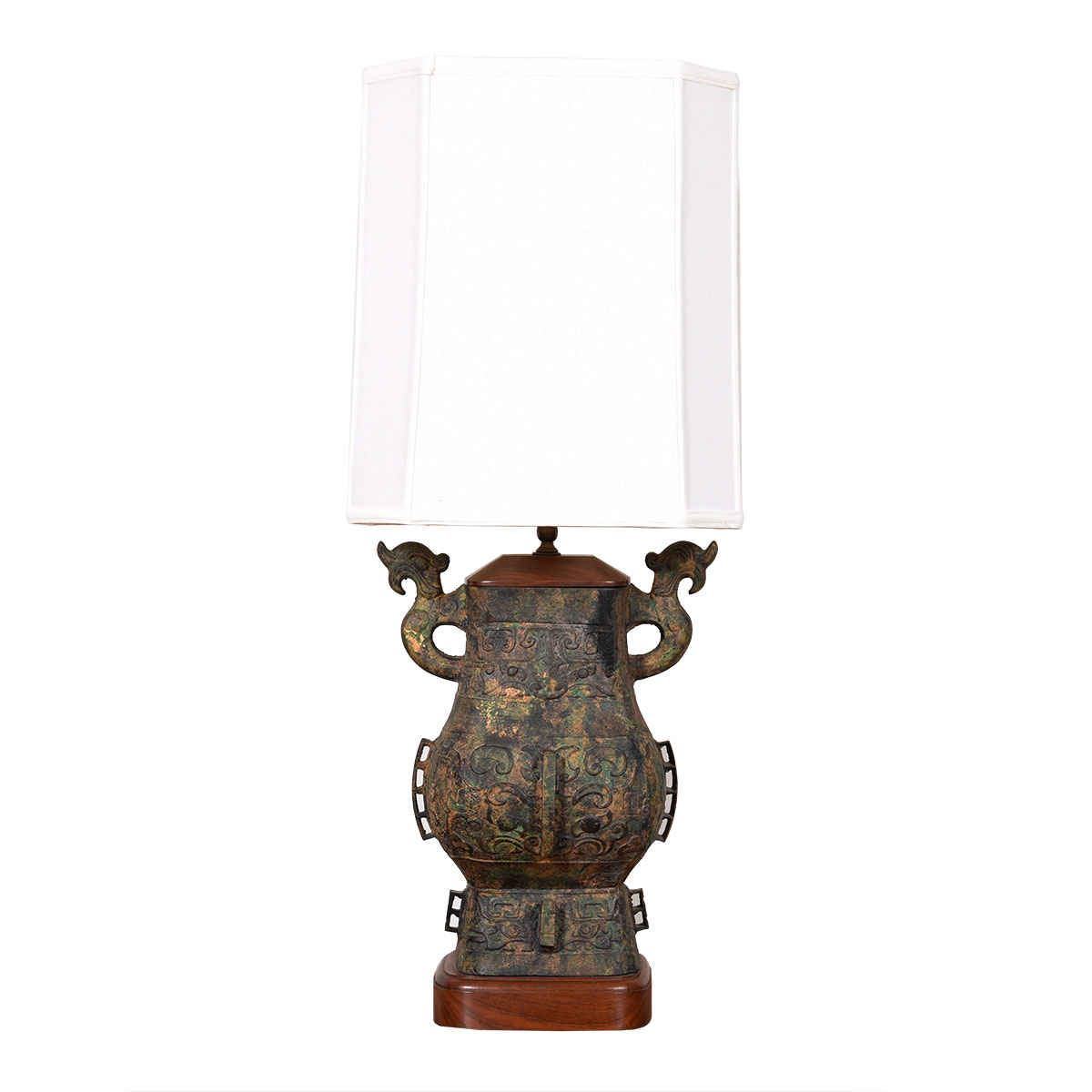 Large Asian-Inspired Walnut Accented Table Lamp