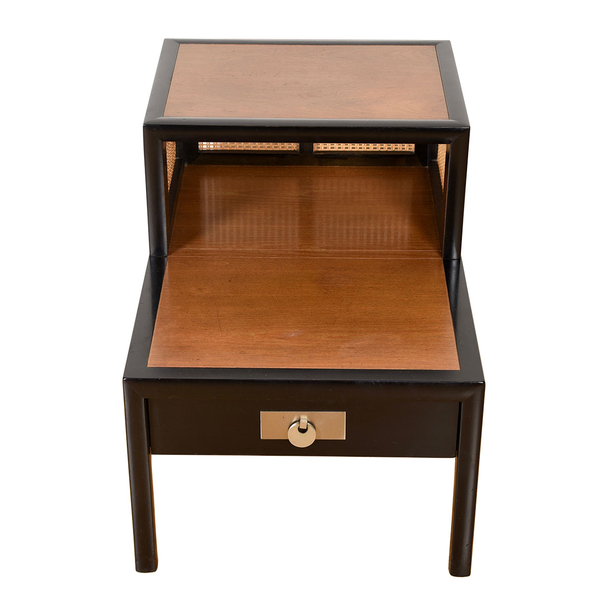 Baker Mid-Century Decorator Black Lacquer + Cane Step Side Table