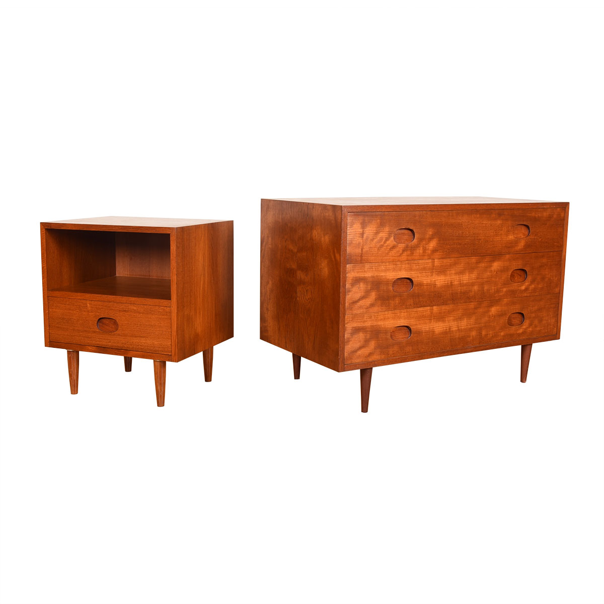 Danish Modern Teak Chest of Drawers with Inset Oval Pulls