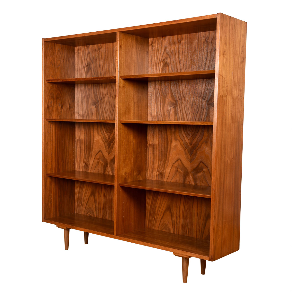 Richly-Grained Walnut Adjustable Bookcase