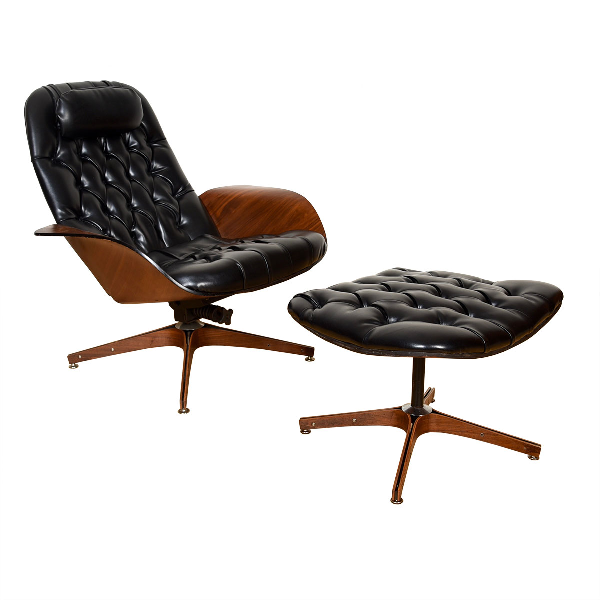 """George Mulhauser """"Mr Chair"""" Mid Century Tufted Lounge Chair + Ottoman"""