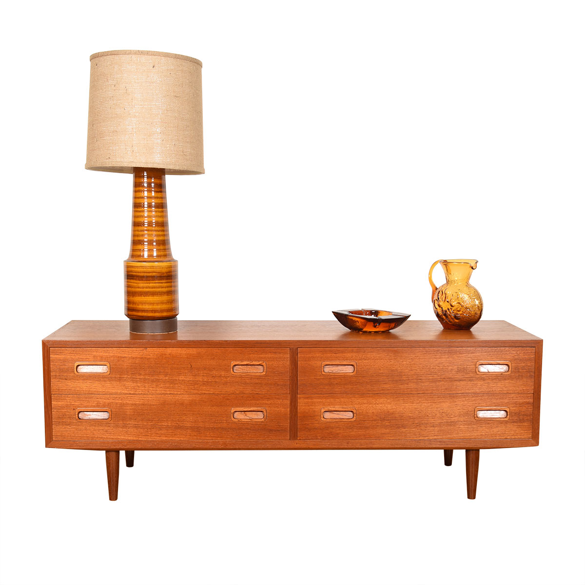Danish Teak Low Double Chest of 4 Drawers + Optional Media | Bookcase Display Top
