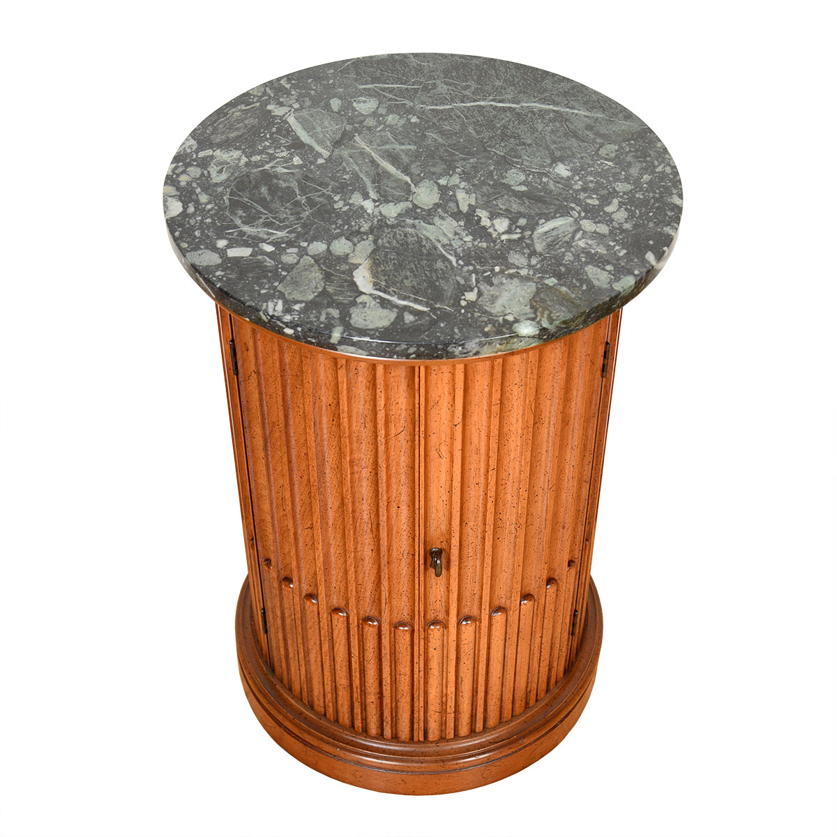 Green Italian Marble Accent Table with Storage