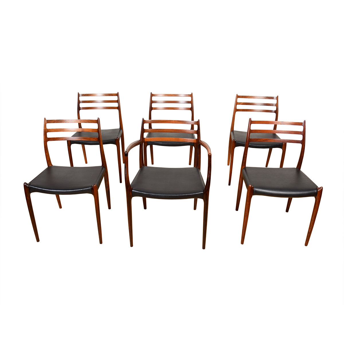 Set of 6 Niels Moller Brazilian Rosewood Dining Chairs (1 Arm + 5 Side)