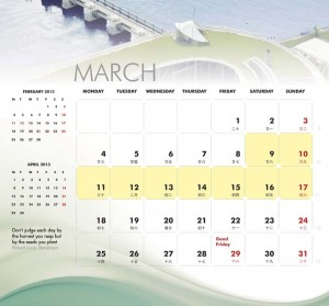 March- calendar in side pages