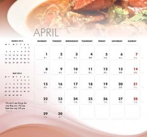 April - calendar inside page