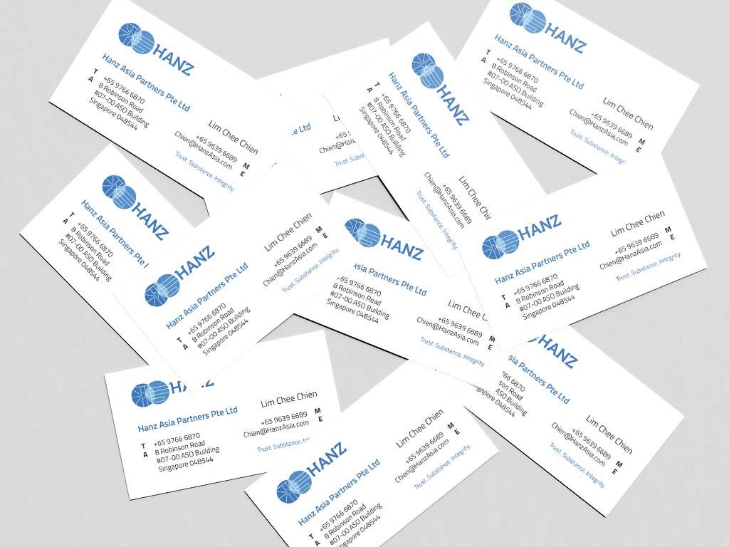 name card design for hanz singapore freelance designer