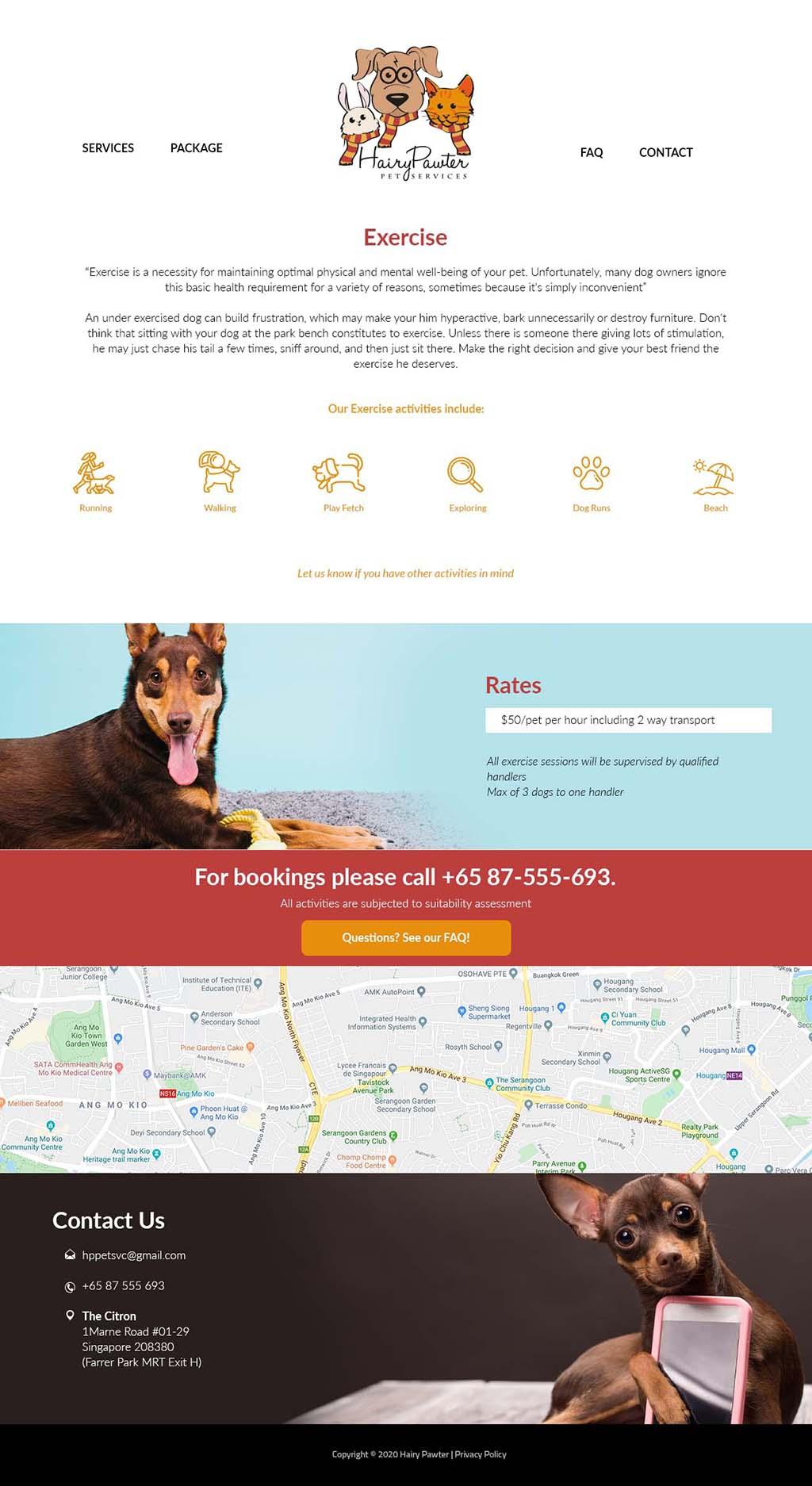 website design for hairy pawter singapore freelance designer