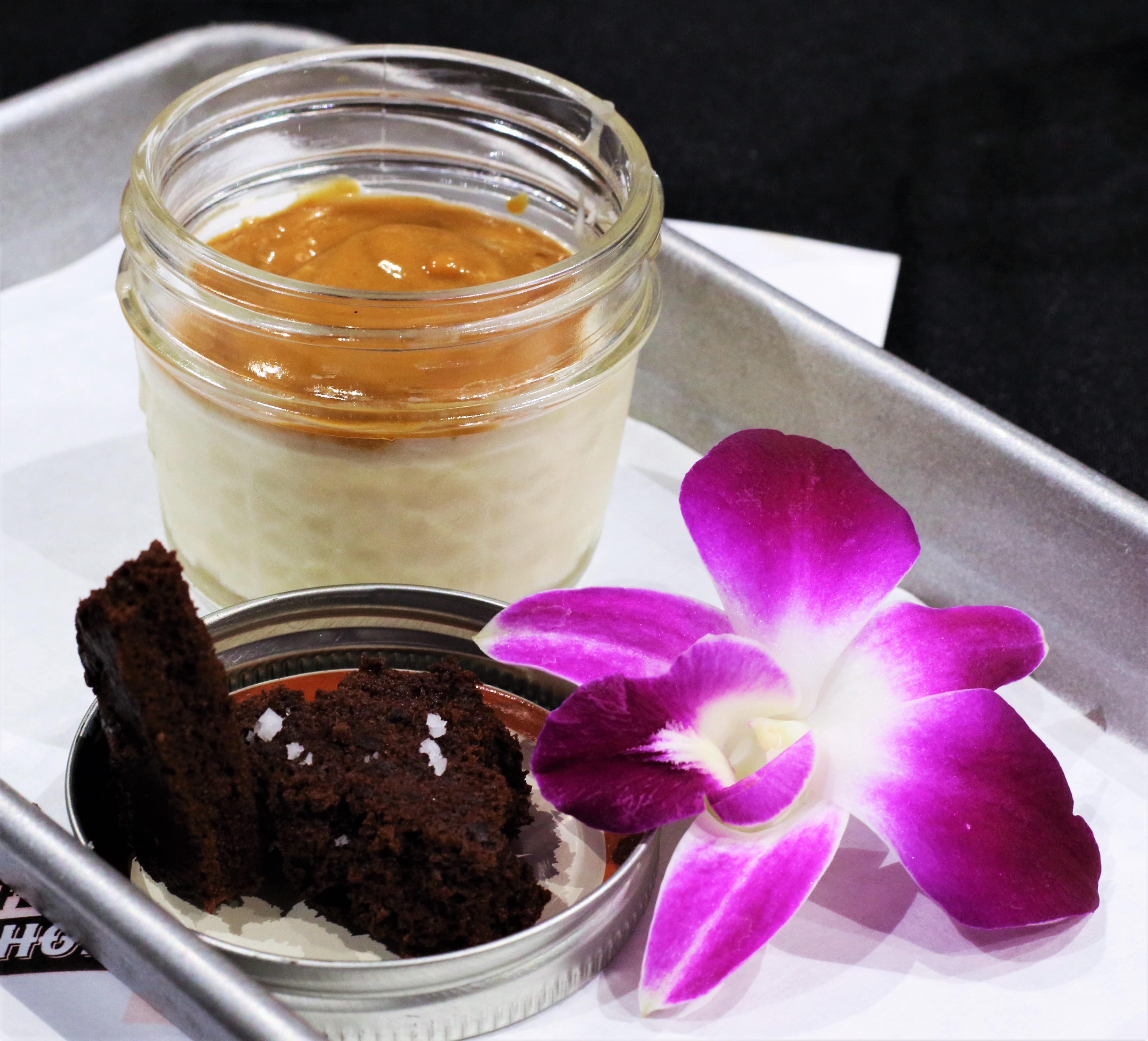 Guanabana Panna Cotta, lucuma manjar blanco, chocolate sponge cake, foodie, farm shed dinner, pacha chefs, tres dallas, dallas farmers market