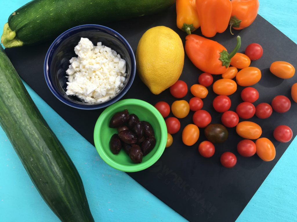 Tomatoes feta olives peppers