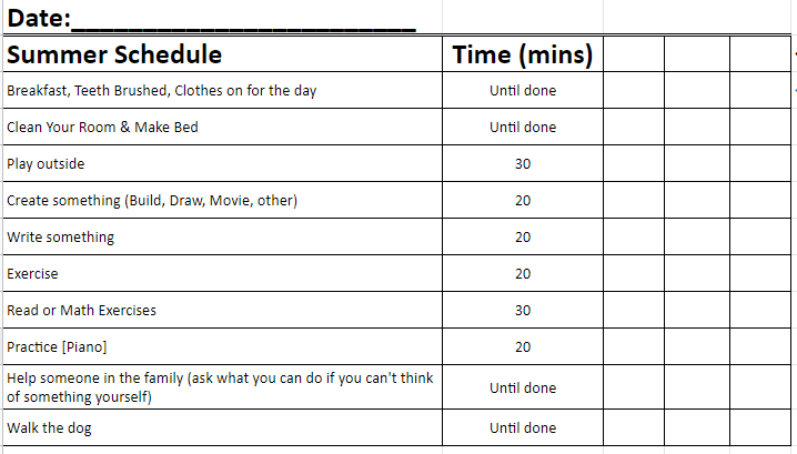 Schedule to help manage screen time of children