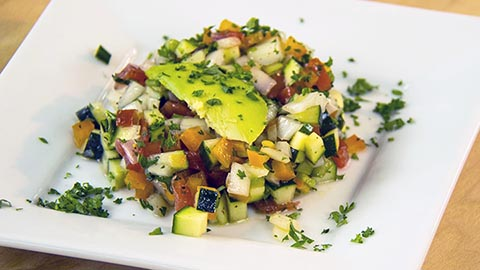 The Guy Cooks Recipe for Vegetable Tartare inspired by Zin American Bistro Palm Springs CA