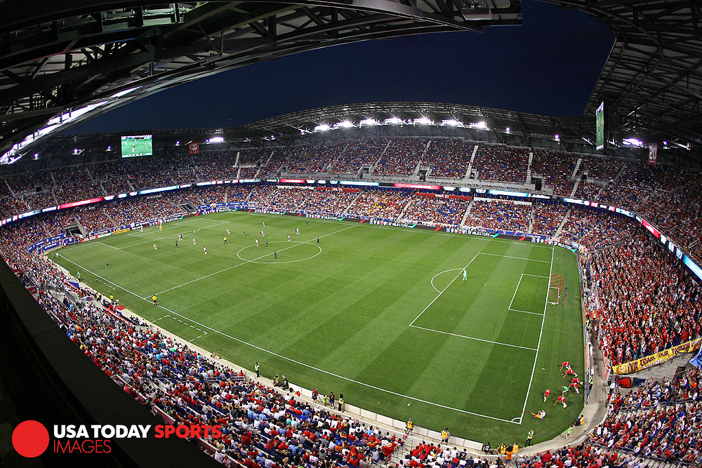 Aug 9, 2015; Harrison, NJ, USA;  A general view of an MLS soccer game between the New York Red Bulls and New York City FC during the second half at Red Bull Arena. Mandatory Credit: Danny Wild-USA TODAY Sports