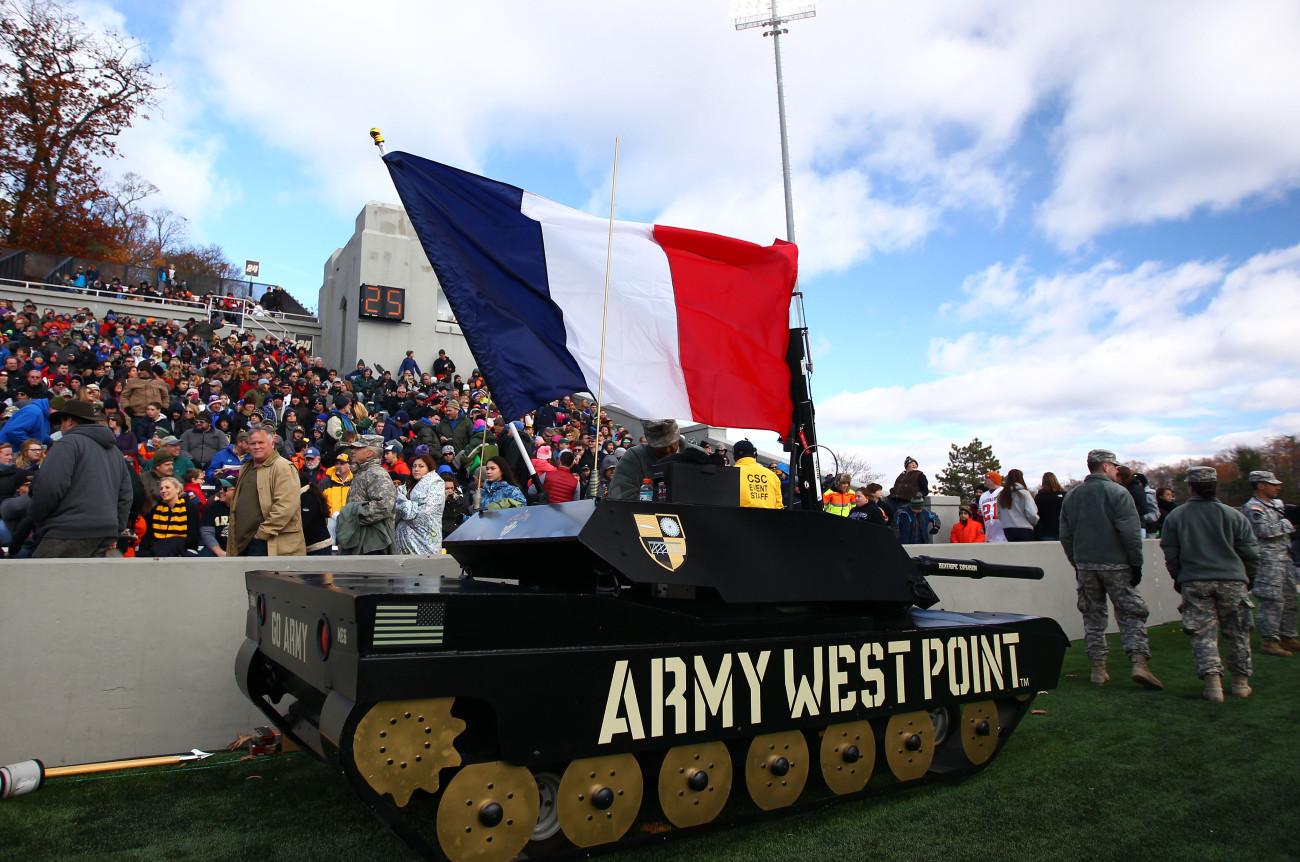 Nov 14, 2015; West Point, NY, USA; West Point cadets fly the French flag on a small tank during the first half of a game between the Army Black Knights and the Tulane Green Wave at Michie Stadium. The tribute comes a day after terrorist attacks hit Paris, France. Mandatory Credit: Danny Wild-USA TODAY Sports