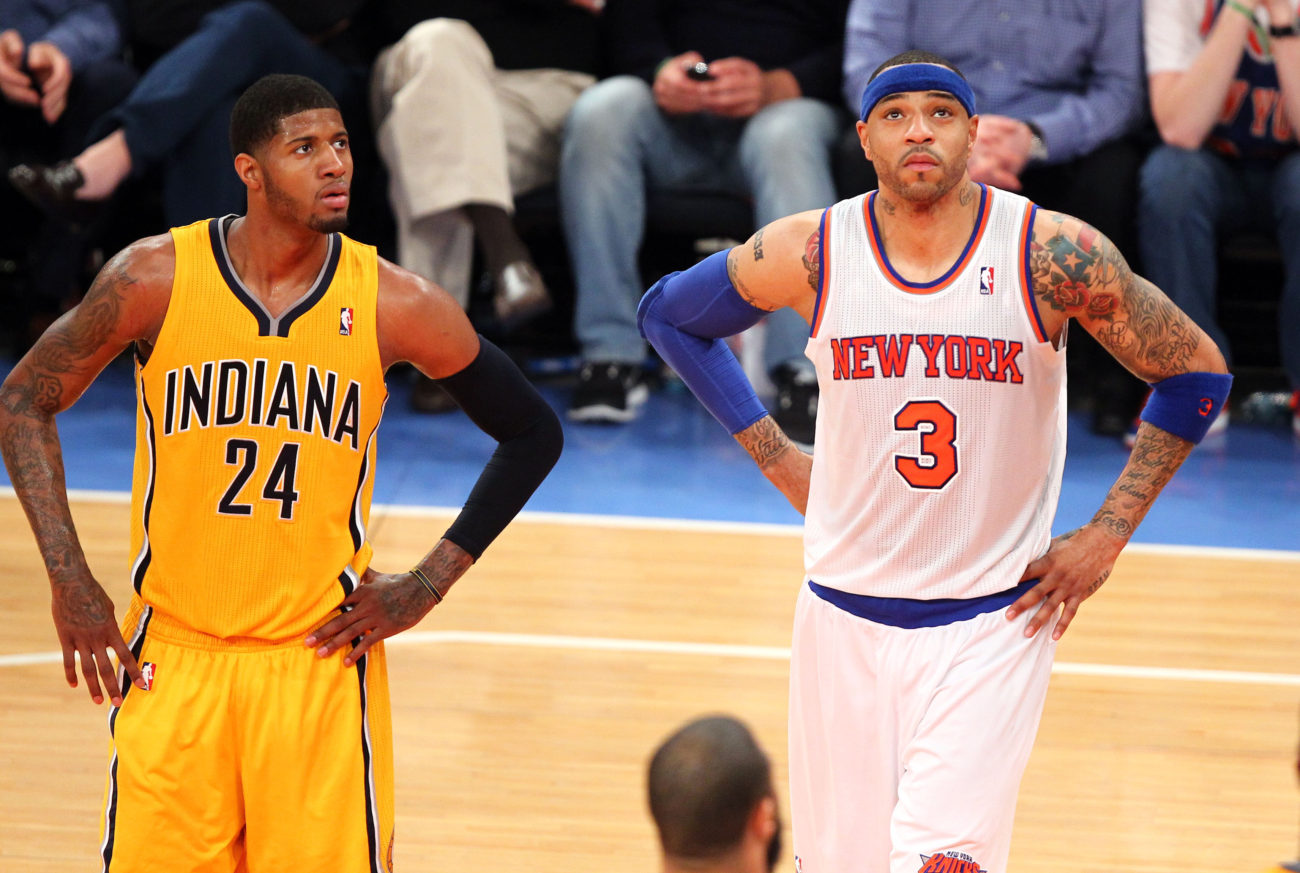 May 5, 2013; New York, NY, USA; New York Knicks forward Kenyon Martin (3) and Indiana Pacers forward Paul George (24) watch the scoreboard during the second half at Madison Square Garden. Mandatory Credit: Danny Wild-USA TODAY Sports