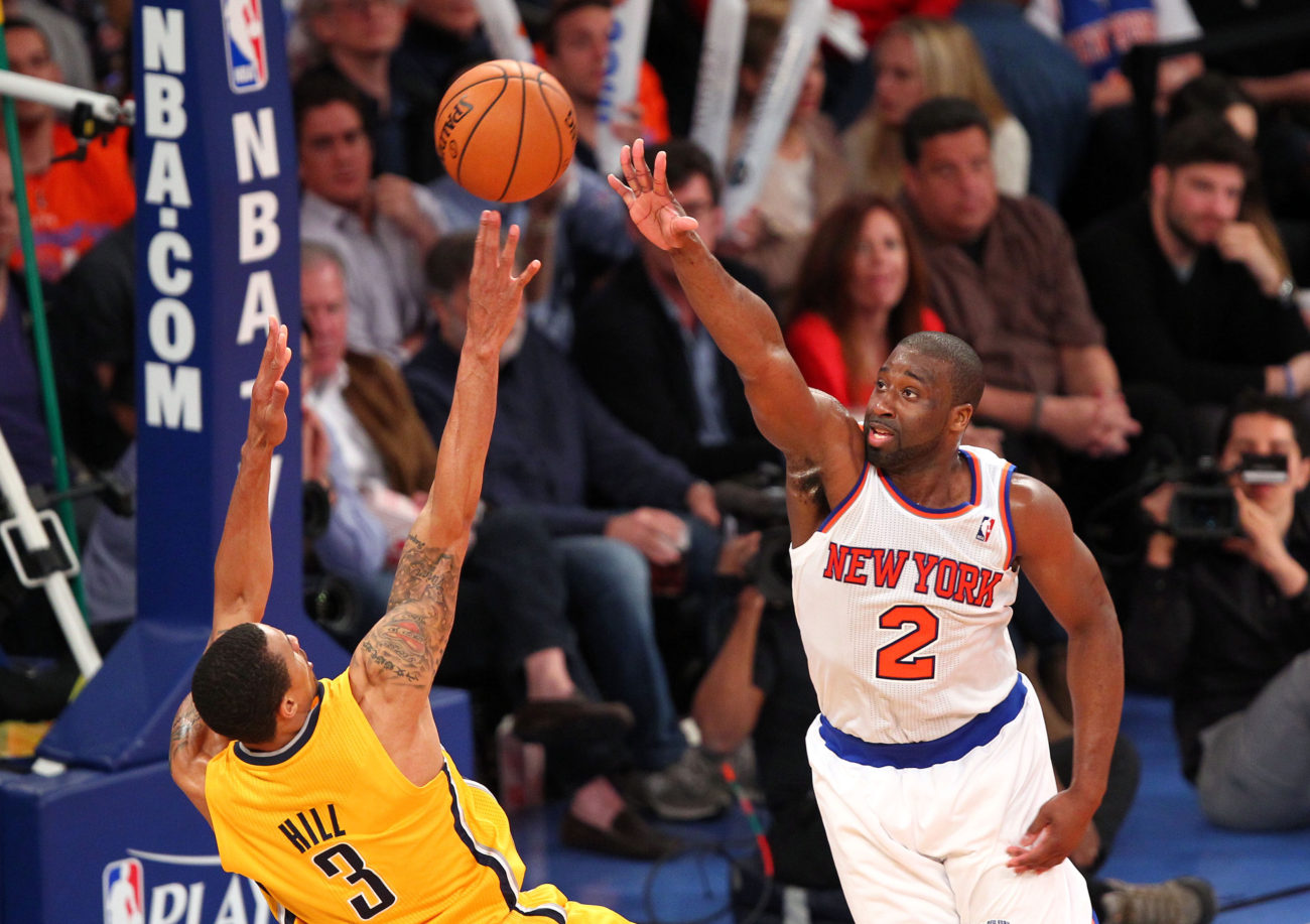 May 5, 2013; New York, NY, USA; Indiana Pacers guard George Hill (3) takes a shot against New York Knicks point guard Raymond Felton (2) at Madison Square Garden. Mandatory Credit: Danny Wild-USA TODAY Sports