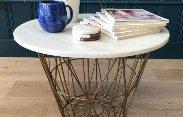Retro Coffee Table with Marble Top and Brass Metal Base – DESIGNER SAMPLE SALE