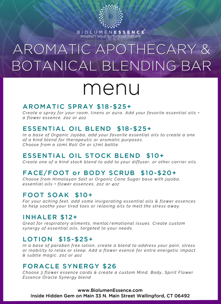 Botanical Blending Bar & Aromatic Apothecary Menu