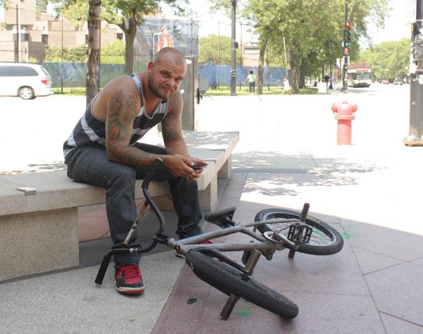 gremlin sitting on bench
