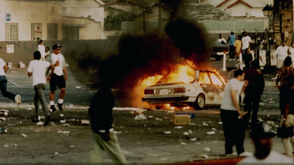 Still image of riots in LA 92 Directed by T. J. Martin and Daniel Lindsay