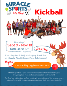 SportsAbility Alliance: In-Person Kickball @ Miracle Field at Messer Park | Tallahassee | Florida | United States