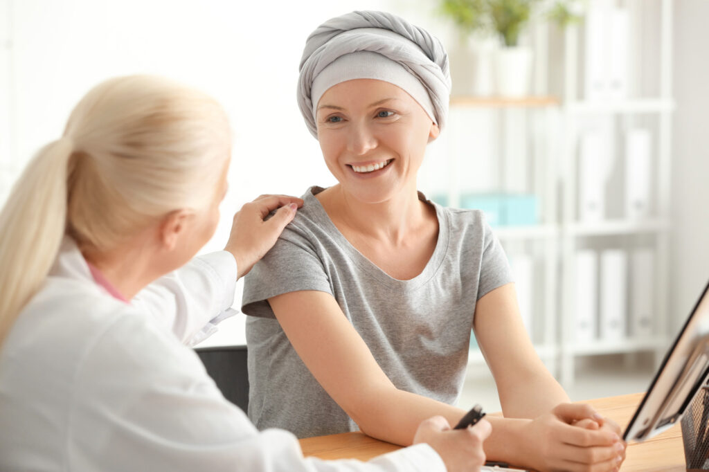 Environmental monitoring - Woman after chemotherapy visiting doctor