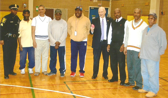 Pictured from left are Officer Andrew Rodney, Errol Archer, Mahadeo Ajodhi, Delroy Archer, Coordinator George Steir, Police Chief James C. Rovella, Curtis Clarke, President of the Connecticut Cricket League, Patrick Hamilton and supporter McKain Collins.