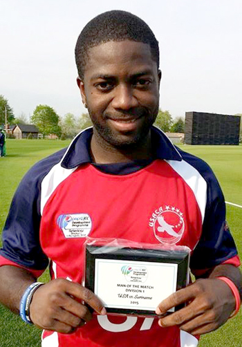 Nicholas Standford poses with man-of-the-match award after hitting an unbeaten 64 runs from 49 deliveries. Photo courtesy of Bolingbrook Premier League.