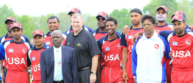 USA team with Indianapolis Mayor Greg Ballard at the conclusion of ICC Americas Division 1 Championship. Photo courtesy of Ali Ibrahim Photography and www.adisportsusa.com