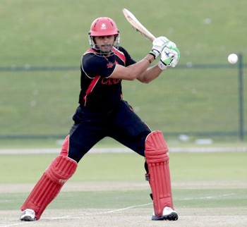 Rizwan Cheema hit 98 from 36 balls which included 7 fours and 10 sixes. Photo courtesy of ICC