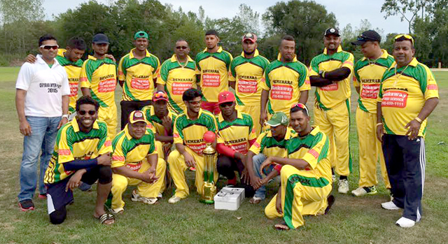 The victorious Demerara team with championship trophy.