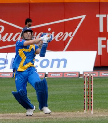 Sachin Tendulkar plays one of his iconic shot.