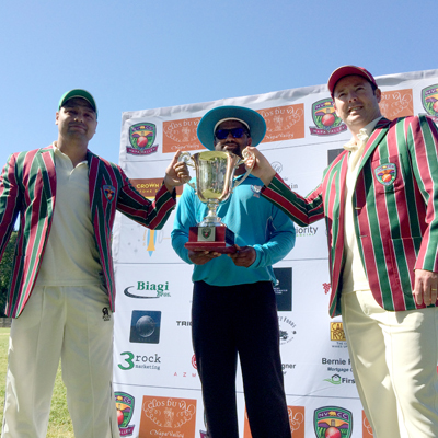 Pre-game ceremonies as the two captains and umpire pose with the Napa Valley World Series of Cricket trophy. (L-R) Kiranpreet Singh, Barry Manogaran and Rob Bolch.