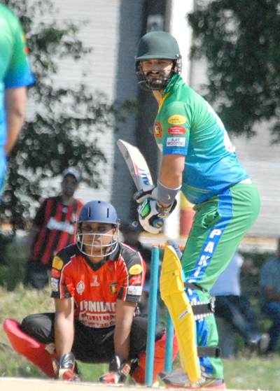 Abdullah Syed hammered 42 from 15 deliveries against Guyana. Photo by Shiek Mohamed